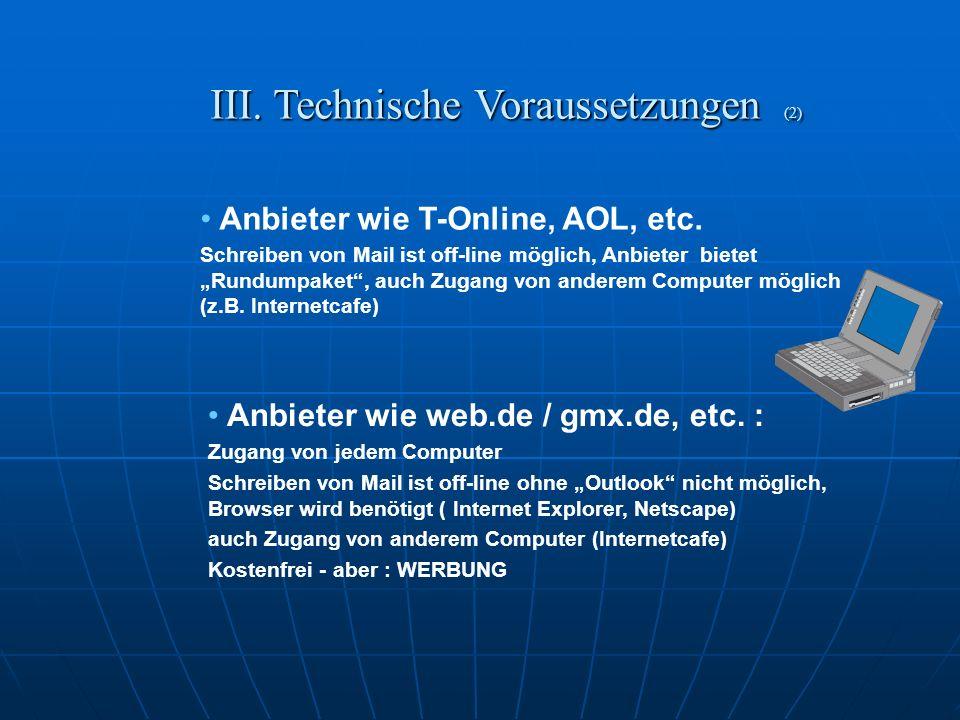 III. Technische Voraussetzungen (1) Hardware Hardware Modem / ISDN / DSL-Modem Modem / ISDN / DSL-Modem Internet - Anschluss Internet - Anschluss und.