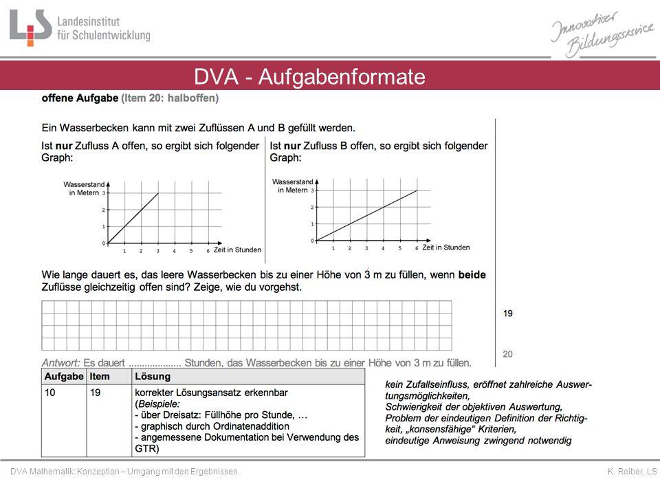 Platzhalter DVA Mathematik: Konzeption – Umgang mit den Ergebnissen K. Reiber, LS DVA - Aufgabenformate