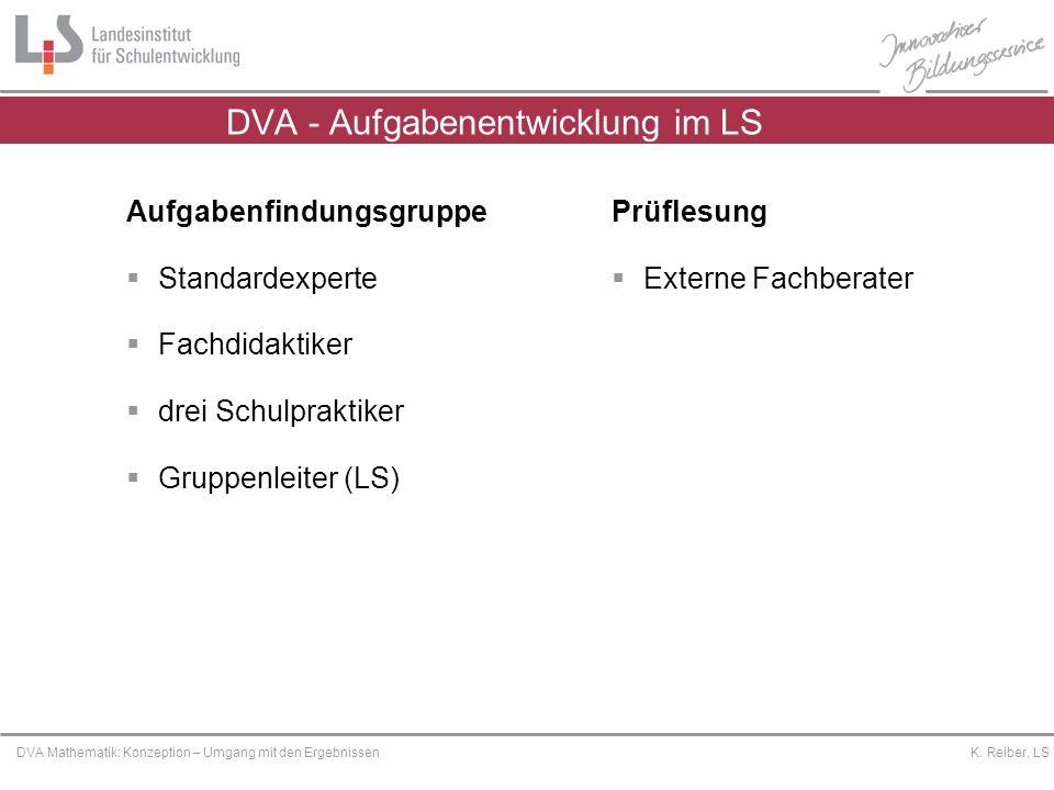 Platzhalter DVA Mathematik: Konzeption – Umgang mit den Ergebnissen K. Reiber, LS DVA - Aufgabenentwicklung im LS Prüflesung Externe Fachberater Aufga