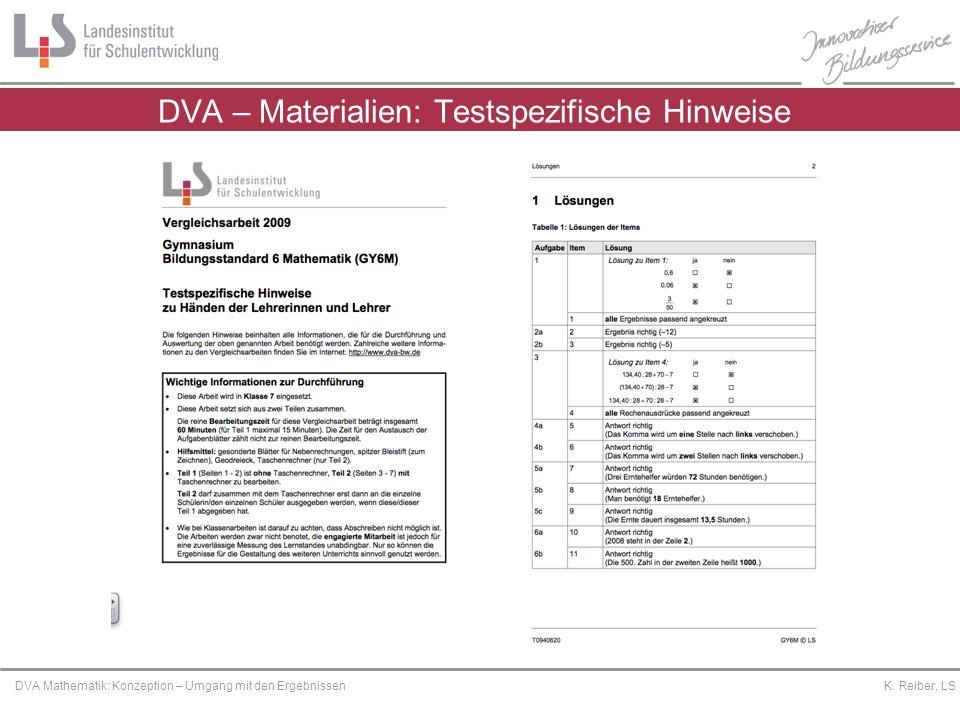 Platzhalter DVA Mathematik: Konzeption – Umgang mit den Ergebnissen K. Reiber, LS DVA – Materialien: Testspezifische Hinweise