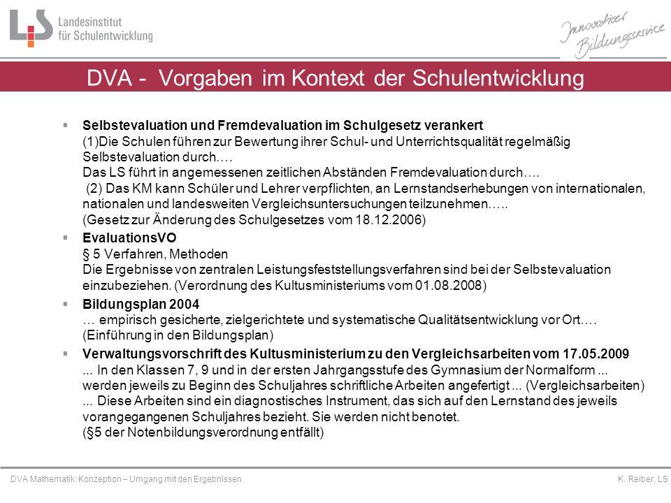 Platzhalter DVA Mathematik: Konzeption – Umgang mit den Ergebnissen K. Reiber, LS DVA - Vorgaben im Kontext der Schulentwicklung Selbstevaluation und