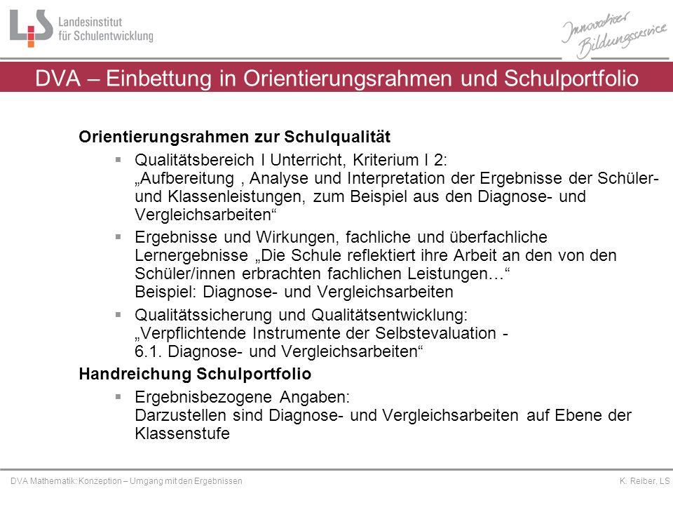 Platzhalter DVA Mathematik: Konzeption – Umgang mit den Ergebnissen K. Reiber, LS DVA – Einbettung in Orientierungsrahmen und Schulportfolio Orientier