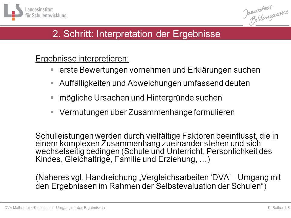 Platzhalter DVA Mathematik: Konzeption – Umgang mit den Ergebnissen K. Reiber, LS 2. Schritt: Interpretation der Ergebnisse Ergebnisse interpretieren: