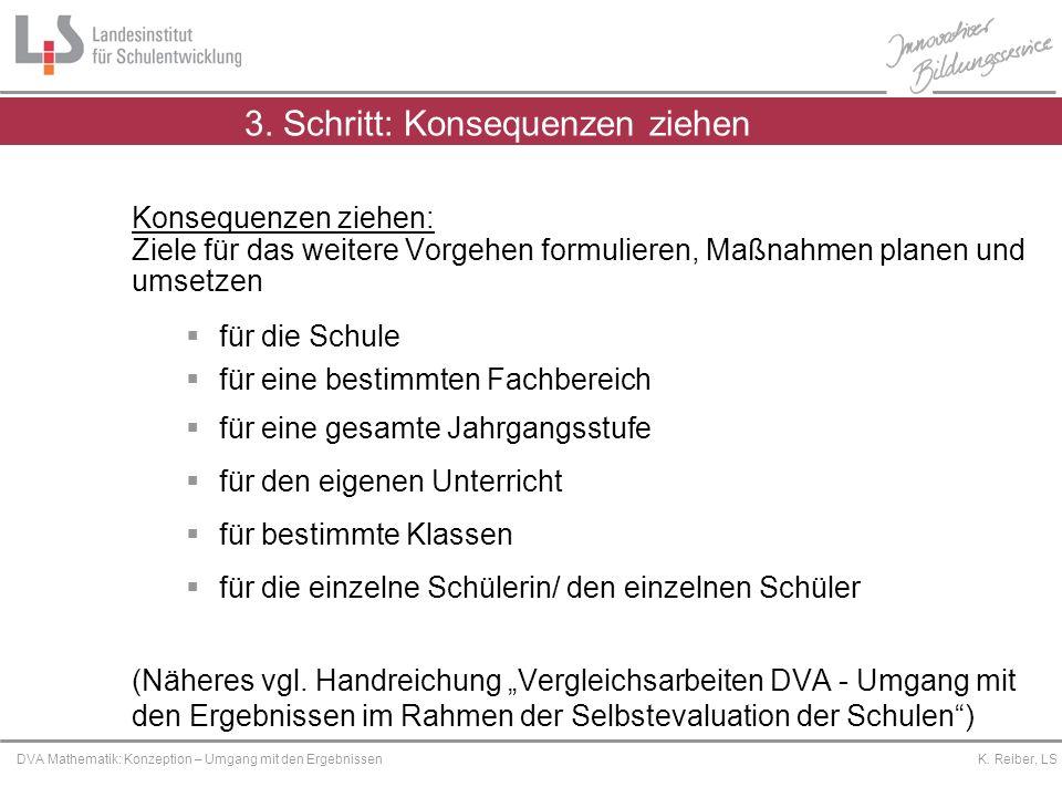 Platzhalter DVA Mathematik: Konzeption – Umgang mit den Ergebnissen K. Reiber, LS 3. Schritt: Konsequenzen ziehen Konsequenzen ziehen: Ziele für das w