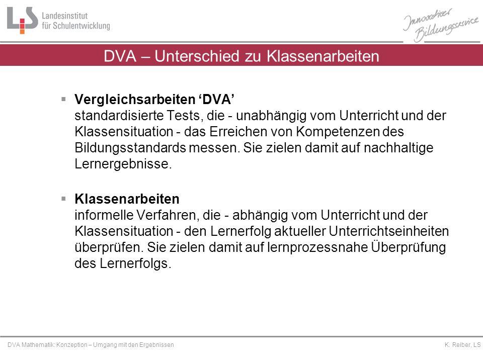 Platzhalter DVA Mathematik: Konzeption – Umgang mit den Ergebnissen K. Reiber, LS DVA – Unterschied zu Klassenarbeiten Vergleichsarbeiten DVA standard