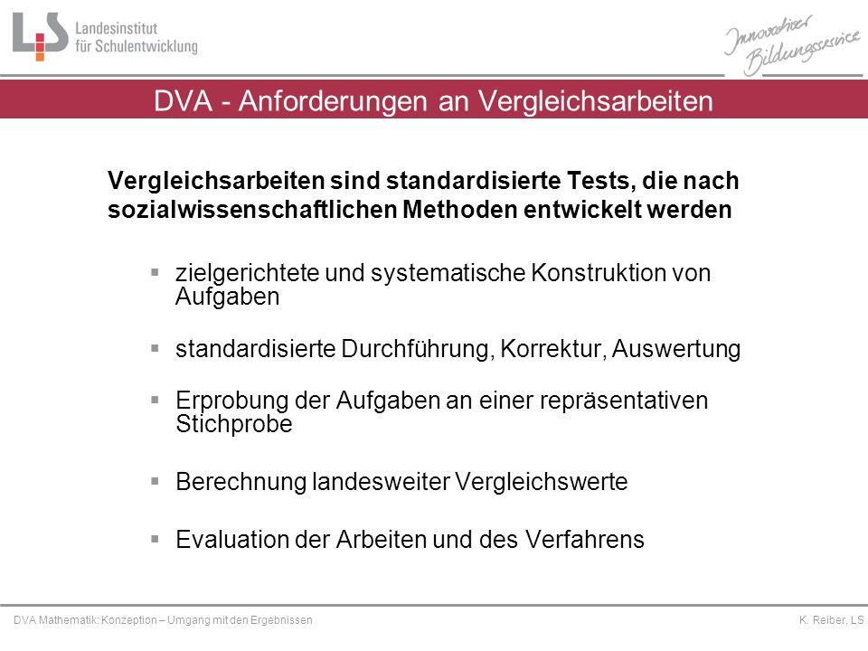 Platzhalter DVA Mathematik: Konzeption – Umgang mit den Ergebnissen K. Reiber, LS Vergleichsarbeiten sind standardisierte Tests, die nach sozialwissen