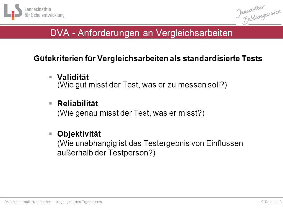 Platzhalter DVA Mathematik: Konzeption – Umgang mit den Ergebnissen K. Reiber, LS Gütekriterien für Vergleichsarbeiten als standardisierte Tests Valid