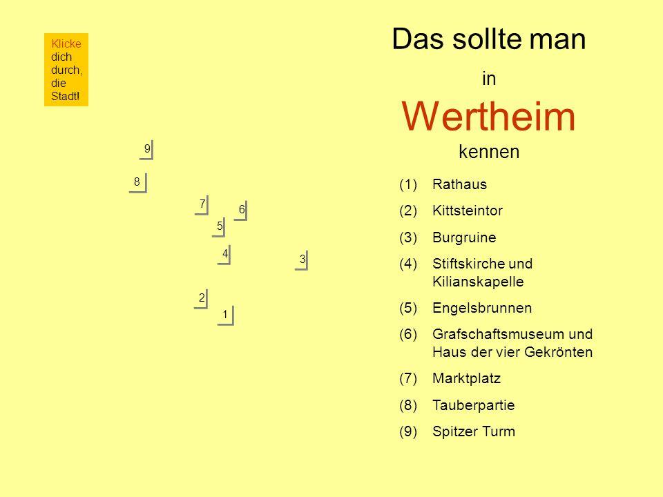 Das sollte man in Wertheim kennen 6 6 (1)Rathaus (2)Kittsteintor (3)Burgruine (4)Stiftskirche und Kilianskapelle (5)Engelsbrunnen (6)Grafschaftsmuseum