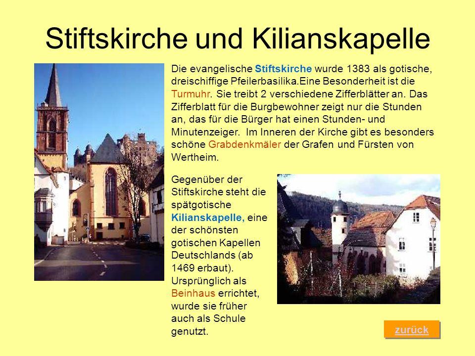Stiftskirche und Kilianskapelle zurück Die evangelische Stiftskirche wurde 1383 als gotische, dreischiffige Pfeilerbasilika.Eine Besonderheit ist die