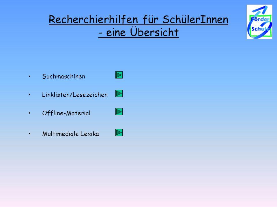 Recherchierhilfen für SchülerInnen - eine Übersicht Linklisten/Lesezeichen Suchmaschinen Offline-Material Multimediale Lexika