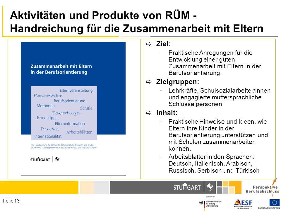 Folie 13 Aktivitäten und Produkte von RÜM - Handreichung für die Zusammenarbeit mit Eltern Ziel: -Praktische Anregungen für die Entwicklung einer gute