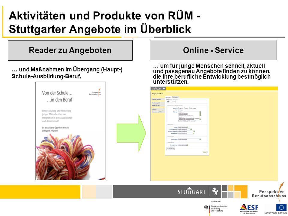 Aktivitäten und Produkte von RÜM - Stuttgarter Angebote im Überblick … und Maßnahmen im Übergang (Haupt-) Schule-Ausbildung-Beruf, Online - Service Re