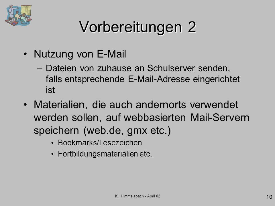 K. Himmelsbach - April 02 10 Vorbereitungen 2 Nutzung von E-Mail –Dateien von zuhause an Schulserver senden, falls entsprechende E-Mail-Adresse einger