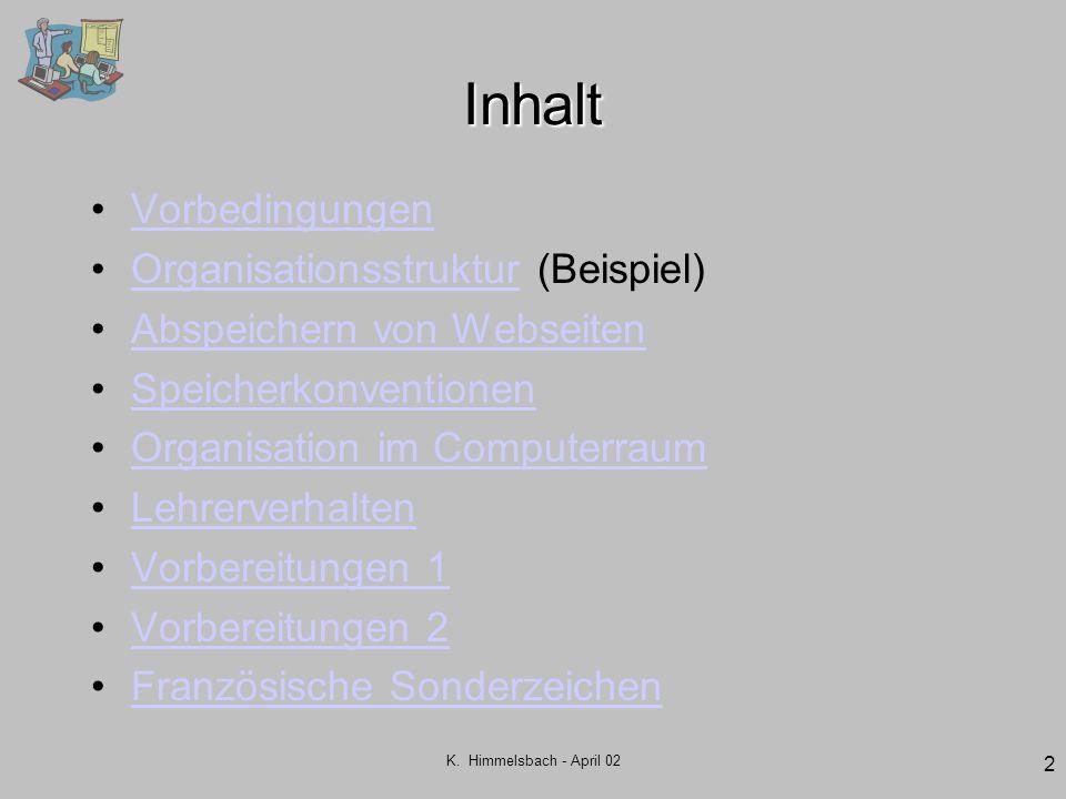 K. Himmelsbach - April 02 2 Inhalt Vorbedingungen Organisationsstruktur (Beispiel)Organisationsstruktur Abspeichern von Webseiten Speicherkonventionen