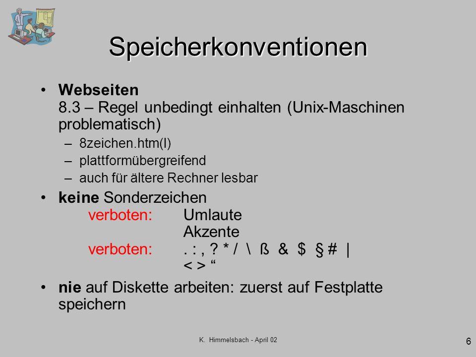 K. Himmelsbach - April 02 6 Speicherkonventionen Webseiten 8.3 – Regel unbedingt einhalten (Unix-Maschinen problematisch) –8zeichen.htm(l) –plattformü