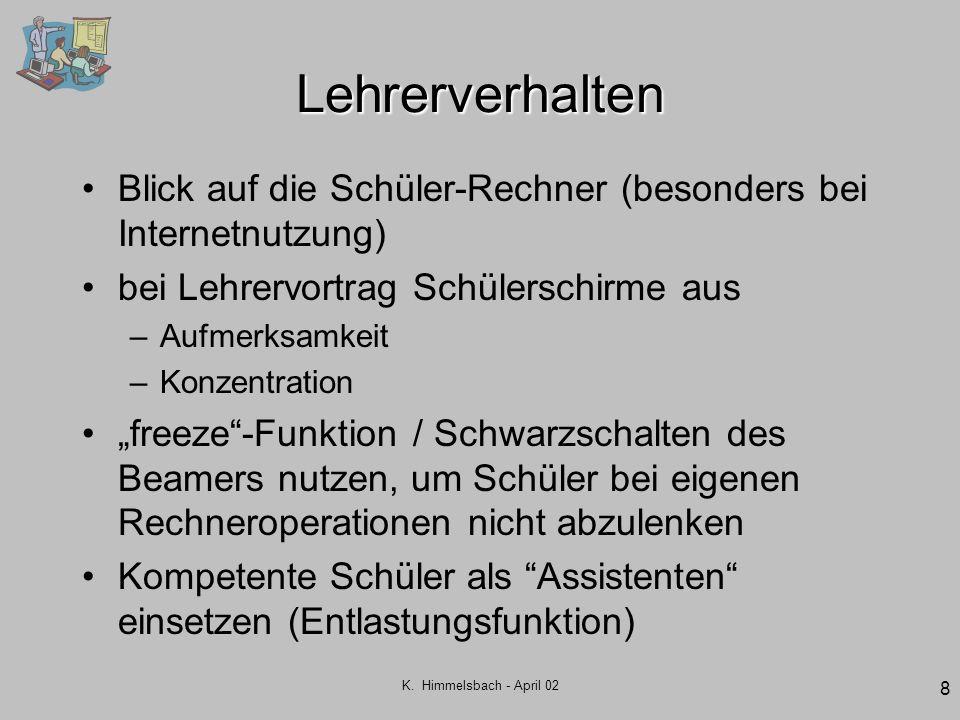 K. Himmelsbach - April 02 8 Lehrerverhalten Blick auf die Schüler-Rechner (besonders bei Internetnutzung) bei Lehrervortrag Schülerschirme aus –Aufmer