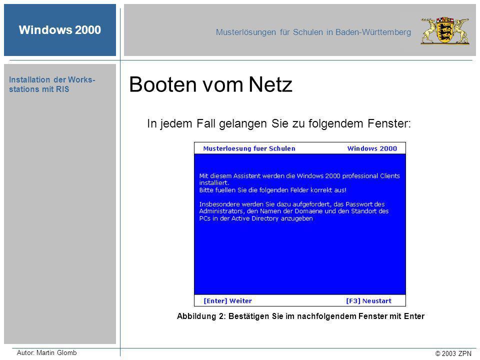 Windows 2000 Musterlösungen für Schulen in Baden-Württemberg © 2003 ZPN Autor: Martin Glomb Installation der Works- stations mit RIS In jedem Fall gelangen Sie zu folgendem Fenster: Abbildung 2: Bestätigen Sie im nachfolgendem Fenster mit Enter Booten vom Netz