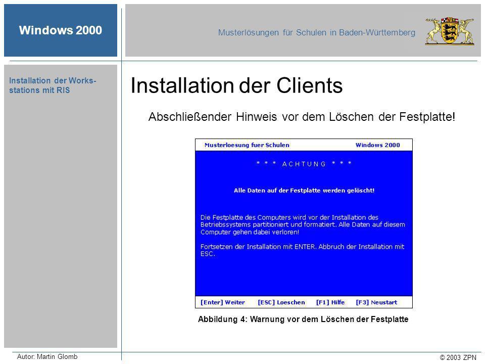 Windows 2000 Musterlösungen für Schulen in Baden-Württemberg © 2003 ZPN Autor: Martin Glomb Installation der Works- stations mit RIS Abschließender Hinweis vor dem Löschen der Festplatte.