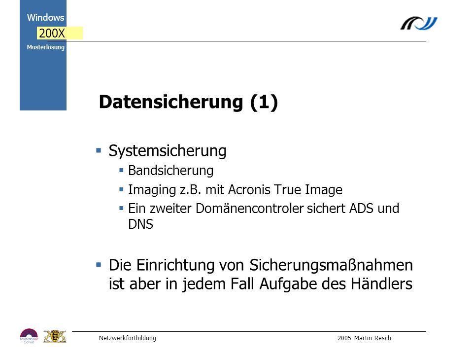 Netzwerkfortbildung 2005 Martin Resch 2000 Windows 200X Musterlösung Datensicherung (1) Systemsicherung Bandsicherung Imaging z.B.
