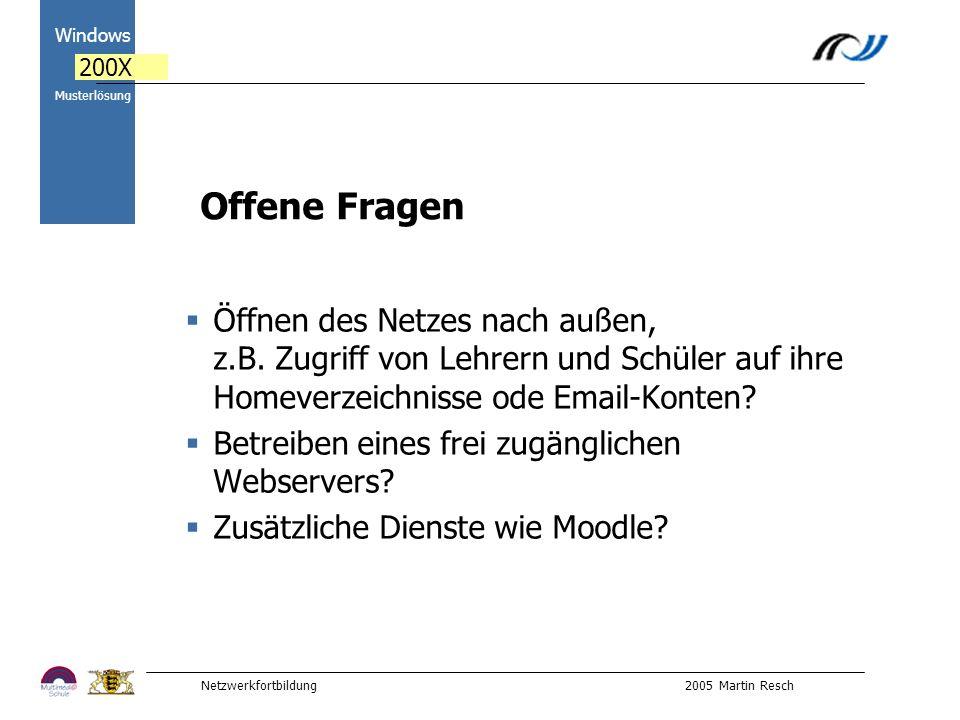 Netzwerkfortbildung 2005 Martin Resch 2000 Windows 200X Musterlösung Offene Fragen Öffnen des Netzes nach außen, z.B.