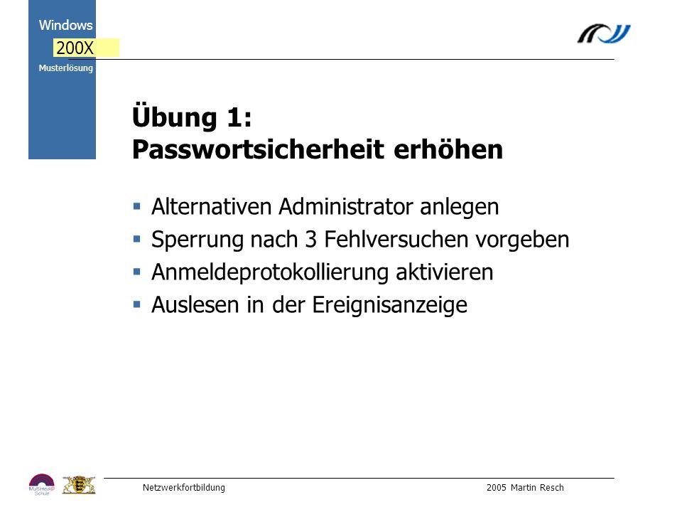 Netzwerkfortbildung 2005 Martin Resch 2000 Windows 200X Musterlösung Übung 1: Passwortsicherheit erhöhen Alternativen Administrator anlegen Sperrung nach 3 Fehlversuchen vorgeben Anmeldeprotokollierung aktivieren Auslesen in der Ereignisanzeige