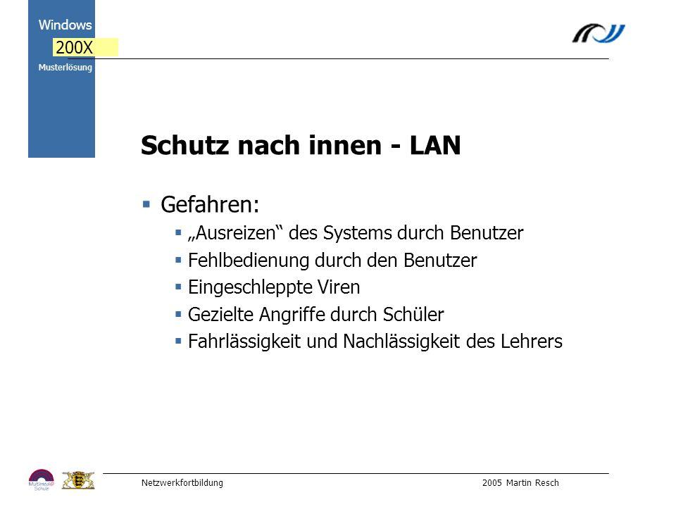 Netzwerkfortbildung 2005 Martin Resch 2000 Windows 200X Musterlösung Schutz nach innen - LAN Gefahren: Ausreizen des Systems durch Benutzer Fehlbedienung durch den Benutzer Eingeschleppte Viren Gezielte Angriffe durch Schüler Fahrlässigkeit und Nachlässigkeit des Lehrers