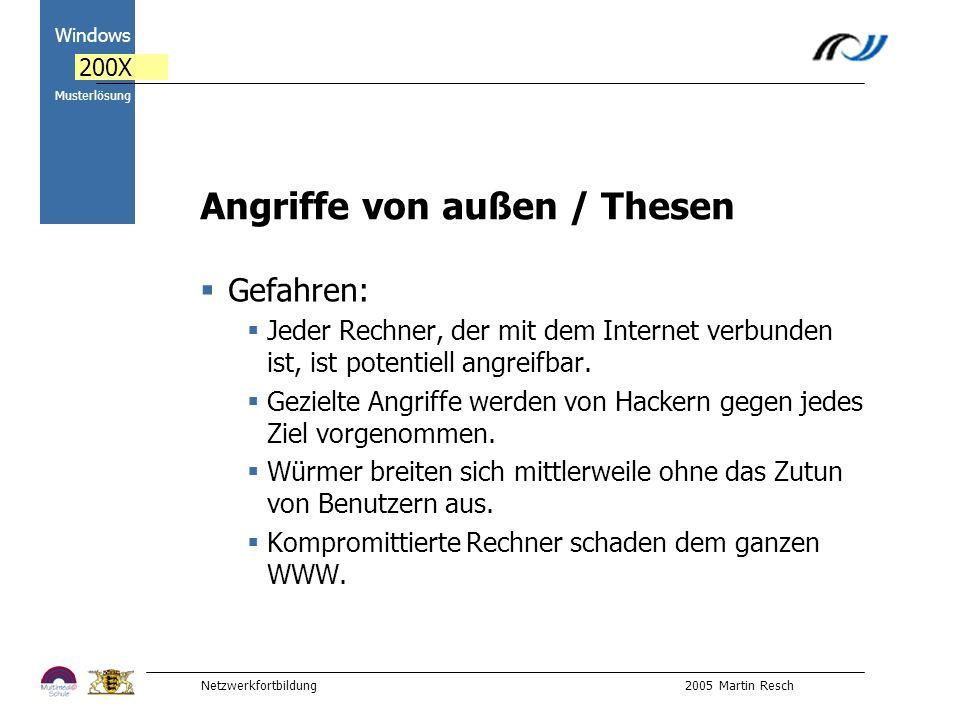 Netzwerkfortbildung 2005 Martin Resch 2000 Windows 200X Musterlösung Angriffe von außen / Thesen Gefahren: Jeder Rechner, der mit dem Internet verbunden ist, ist potentiell angreifbar.
