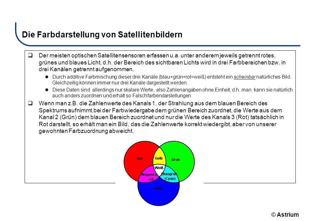 © Astrium Die Farbdarstellung von Satellitenbildern Der meisten optischen Satellitensensoren erfassen u.a. unter anderem jeweils getrennt rotes, grüne