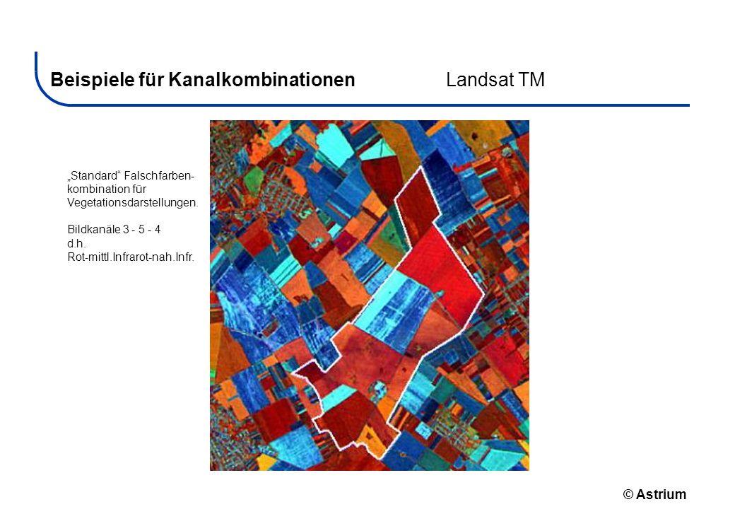 © Astrium Beispiele für KanalkombinationenLandsat TM Standard Falschfarben- kombination für Vegetationsdarstellungen. Bildkanäle 3 - 5 - 4 d.h. Rot-mi