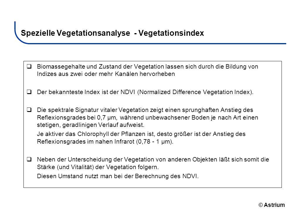 © Astrium Spezielle Vegetationsanalyse - Vegetationsindex Biomassegehalte und Zustand der Vegetation lassen sich durch die Bildung von Indizes aus zwe