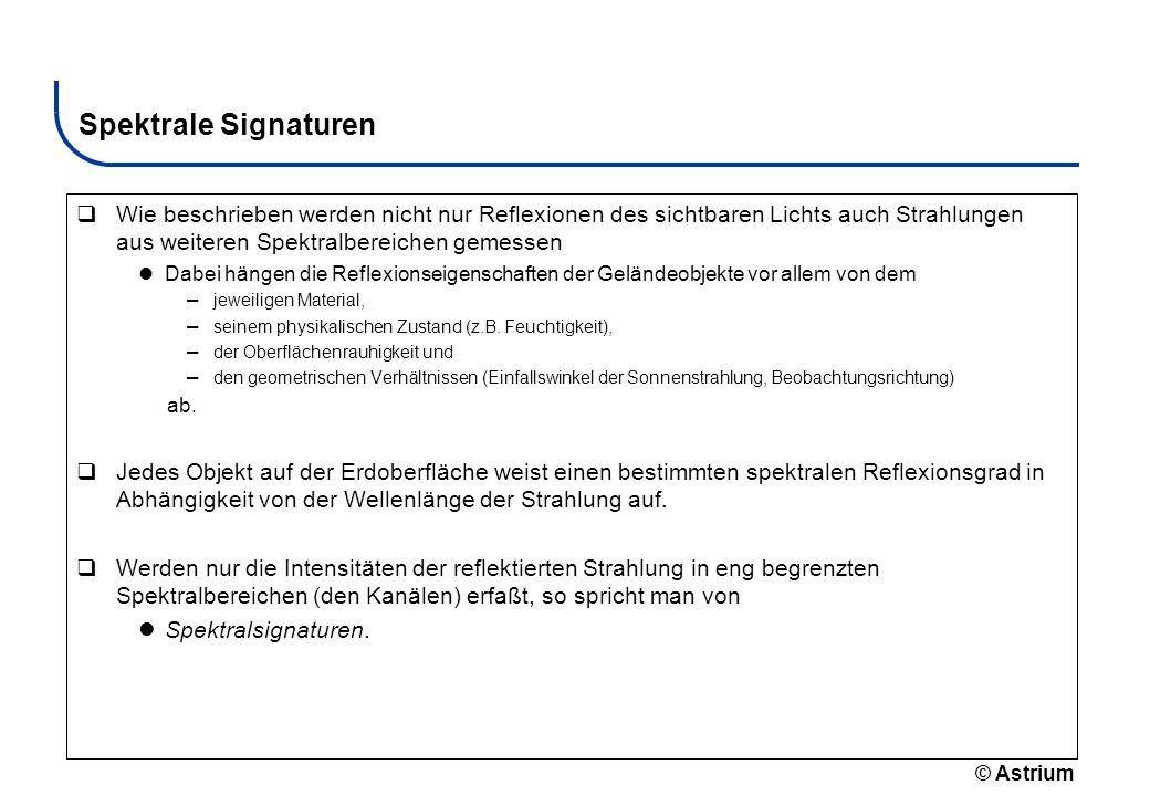 © Astrium Spektrale Signaturen Wie beschrieben werden nicht nur Reflexionen des sichtbaren Lichts auch Strahlungen aus weiteren Spektralbereichen geme