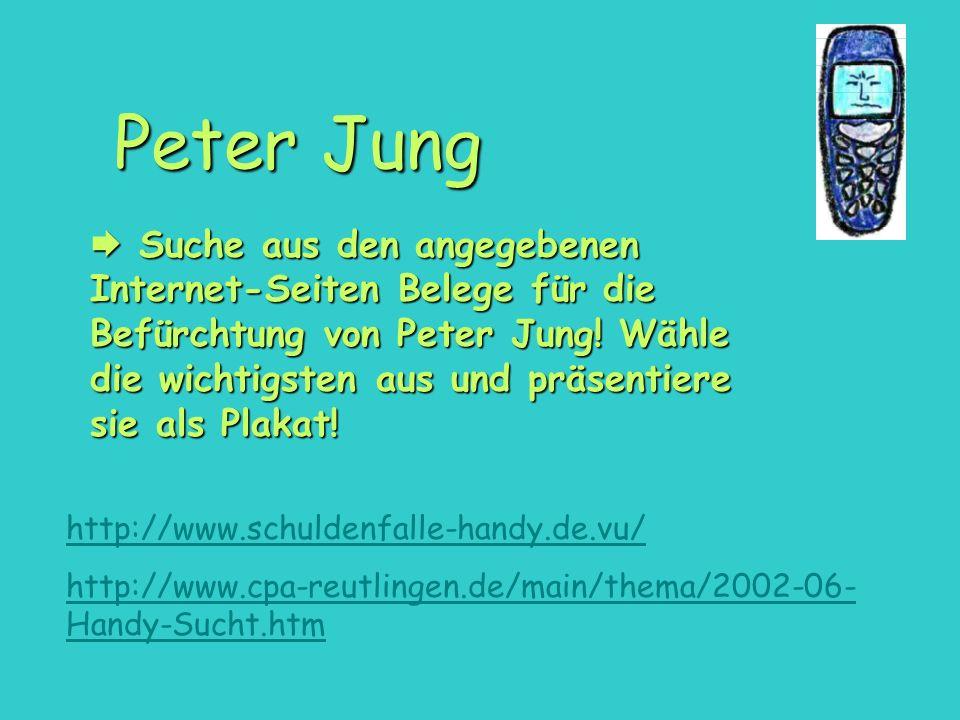 Suche aus den angegebenen Internet-Seiten Belege für die Befürchtung von Peter Jung! Wähle die wichtigsten aus und präsentiere sie als Plakat! Suche a