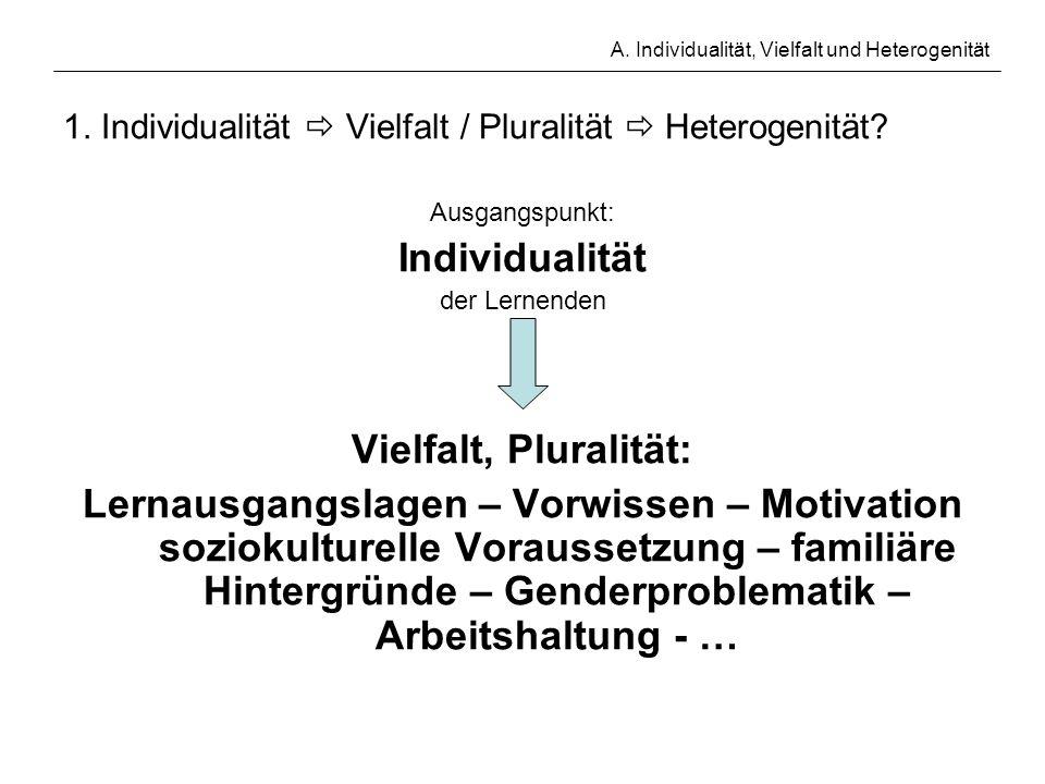 A. Individualität, Vielfalt und Heterogenität 1. Individualität Vielfalt / Pluralität Heterogenität? Ausgangspunkt: Individualität der Lernenden Vielf