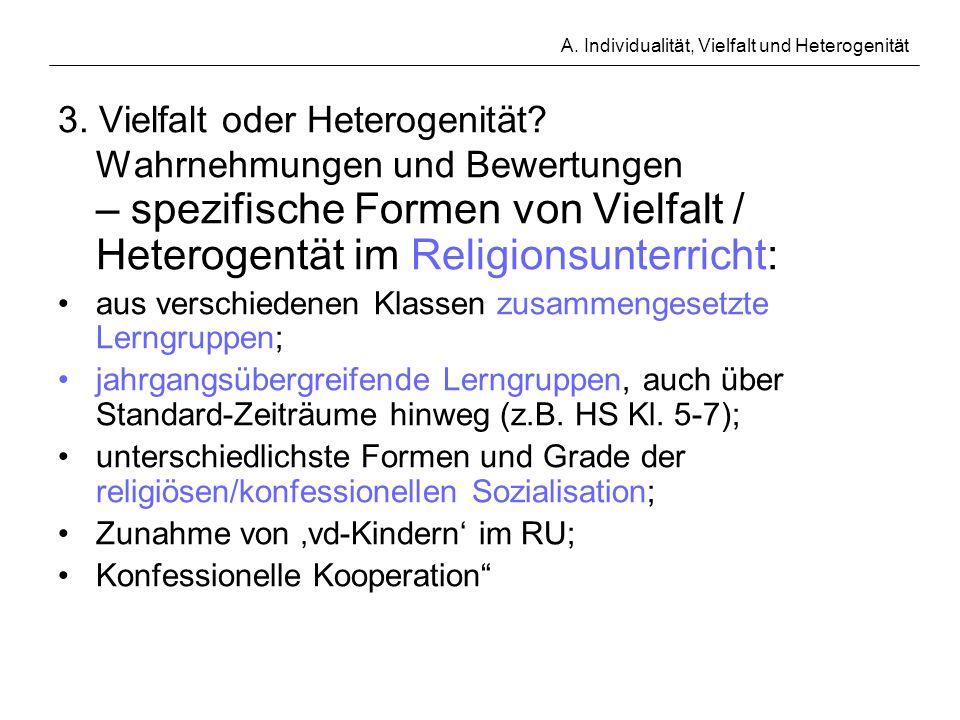 A. Individualität, Vielfalt und Heterogenität 3. Vielfalt oder Heterogenität? Wahrnehmungen und Bewertungen – spezifische Formen von Vielfalt / Hetero
