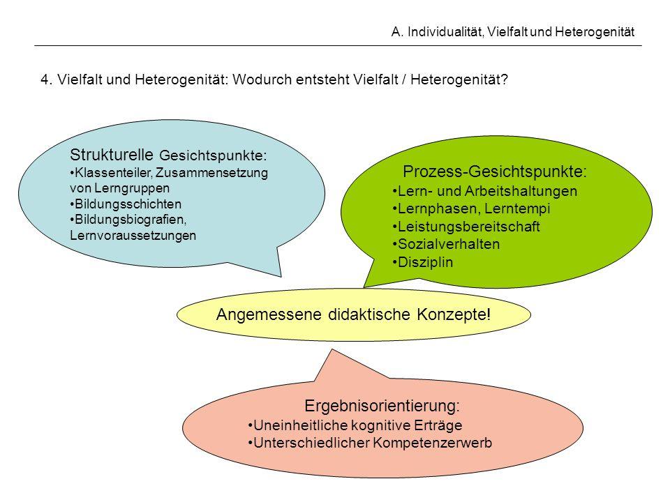A. Individualität, Vielfalt und Heterogenität 4. Vielfalt und Heterogenität: Wodurch entsteht Vielfalt / Heterogenität? Strukturelle Gesichtspunkte: K