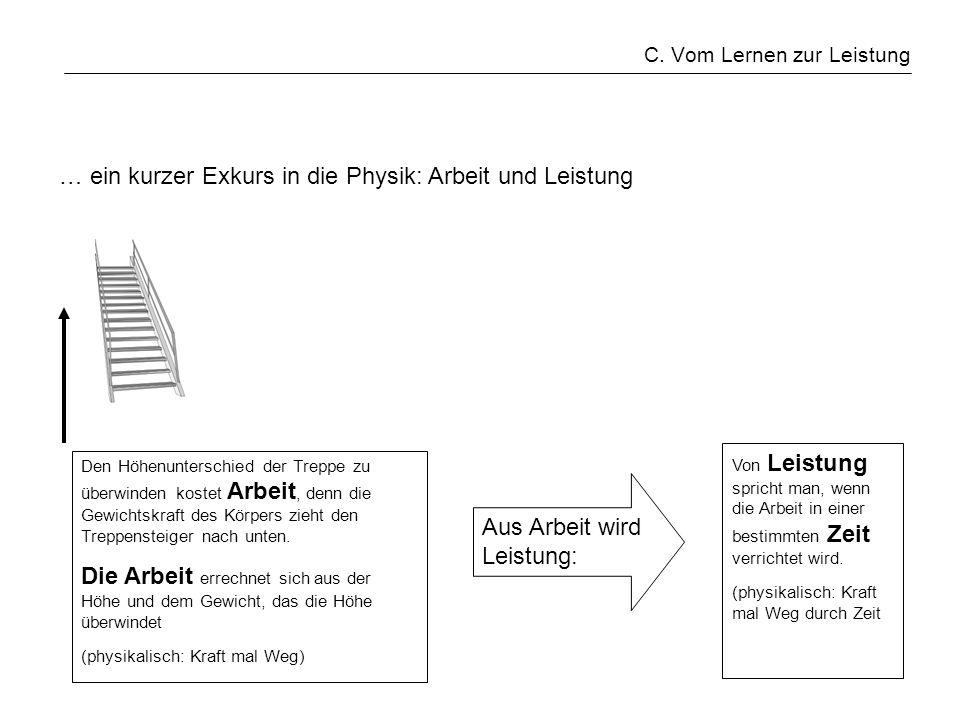 C. Vom Lernen zur Leistung … ein kurzer Exkurs in die Physik: Arbeit und Leistung Den Höhenunterschied der Treppe zu überwinden kostet Arbeit, denn di
