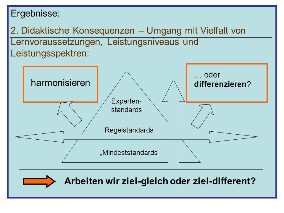 Ergebnisse: 2. Didaktische Konsequenzen – Umgang mit Vielfalt von Lernvoraussetzungen, Leistungsniveaus und Leistungsspektren: Mindeststandards Regels