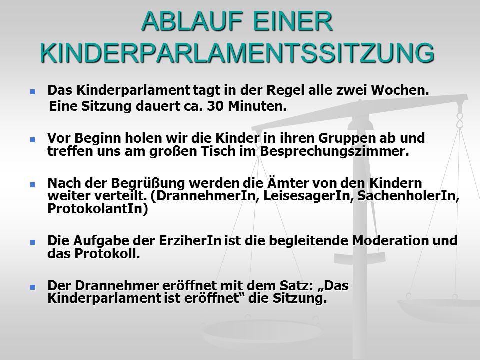ABLAUF EINER KINDERPARLAMENTSSITZUNG Das Kinderparlament tagt in der Regel alle zwei Wochen. Das Kinderparlament tagt in der Regel alle zwei Wochen. E