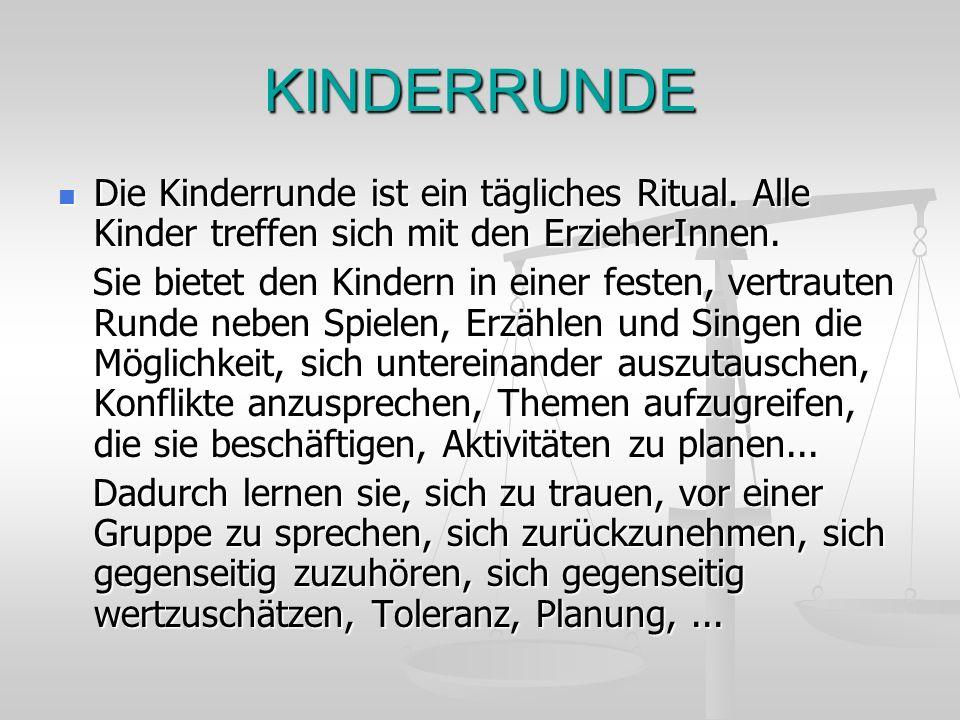 KINDERRUNDE Die Kinderrunde ist ein tägliches Ritual. Alle Kinder treffen sich mit den ErzieherInnen. Die Kinderrunde ist ein tägliches Ritual. Alle K