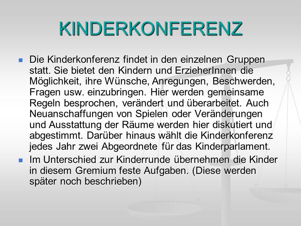 KINDERKONFERENZ Die Kinderkonferenz findet in den einzelnen Gruppen statt. Sie bietet den Kindern und ErzieherInnen die Möglichkeit, ihre Wünsche, Anr