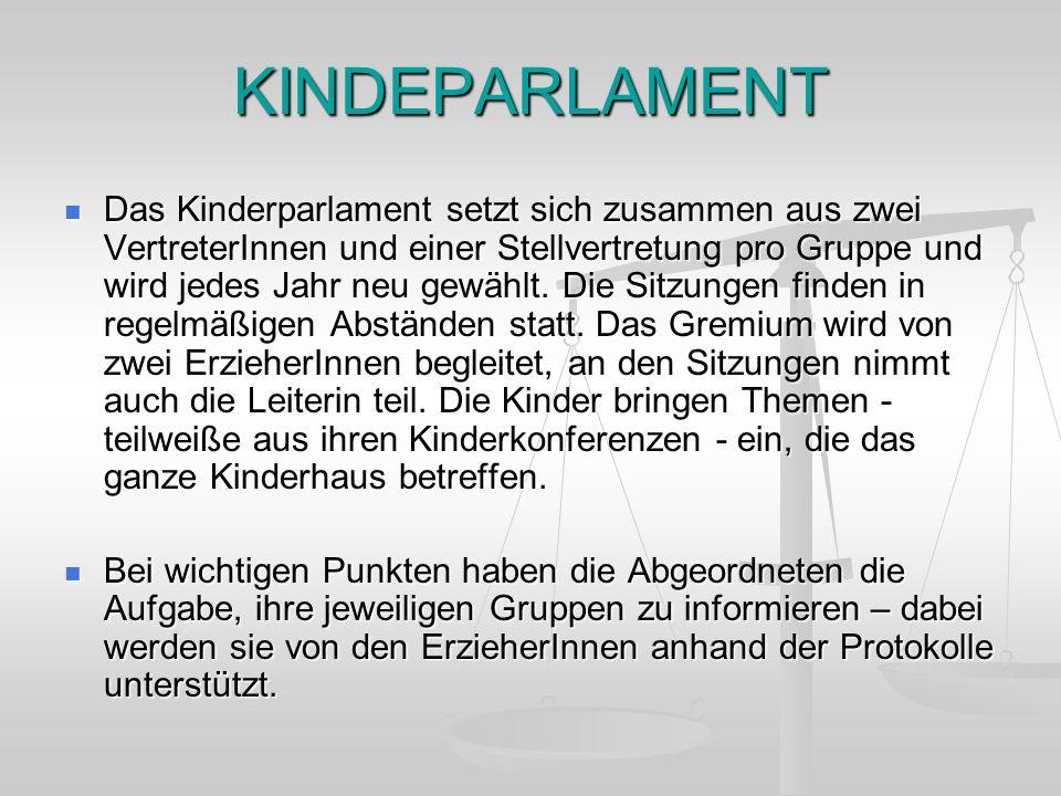 KINDEPARLAMENT Das Kinderparlament setzt sich zusammen aus zwei VertreterInnen und einer Stellvertretung pro Gruppe und wird jedes Jahr neu gewählt. D