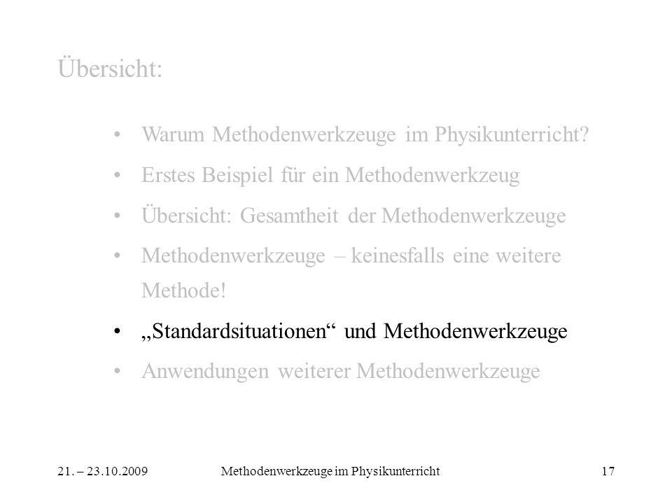 21. – 23.10.2009Methodenwerkzeuge im Physikunterricht17 Übersicht: Warum Methodenwerkzeuge im Physikunterricht? Erstes Beispiel für ein Methodenwerkze