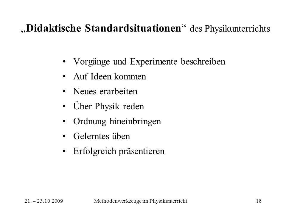 21. – 23.10.2009Methodenwerkzeuge im Physikunterricht18 Didaktische Standardsituationen des Physikunterrichts Vorgänge und Experimente beschreiben Auf