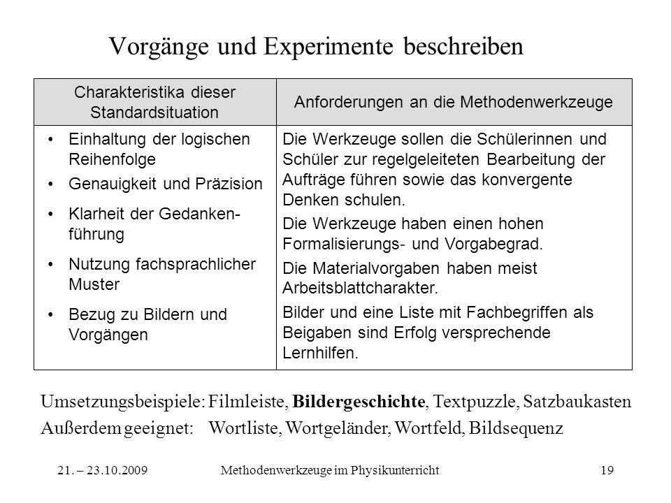 21. – 23.10.2009Methodenwerkzeuge im Physikunterricht19 Vorgänge und Experimente beschreiben Die Werkzeuge sollen die Schülerinnen und Schüler zur reg