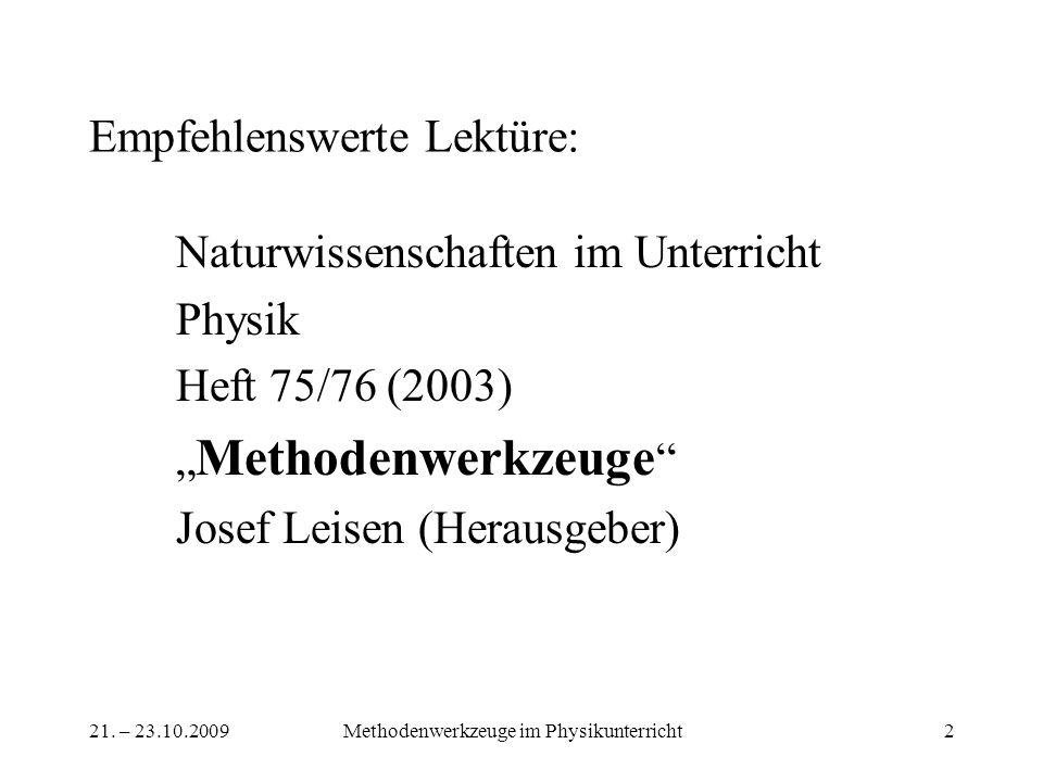 21. – 23.10.2009Methodenwerkzeuge im Physikunterricht2 Empfehlenswerte Lektüre: Naturwissenschaften im Unterricht Physik Heft 75/76 (2003) Methodenwer