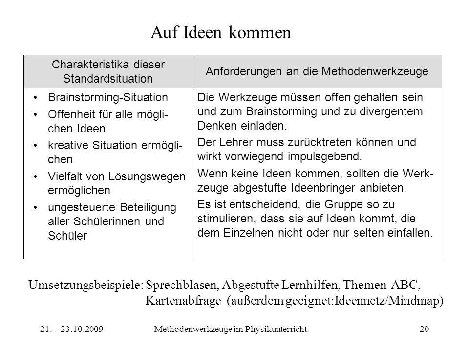 21. – 23.10.2009Methodenwerkzeuge im Physikunterricht20 Auf Ideen kommen Die Werkzeuge müssen offen gehalten sein und zum Brainstorming und zu diverge