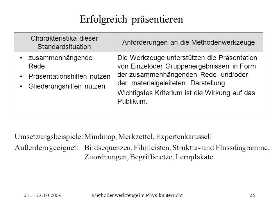 21. – 23.10.2009Methodenwerkzeuge im Physikunterricht26 Erfolgreich präsentieren Die Werkzeuge unterstützen die Präsentation von Einzeloder Gruppener