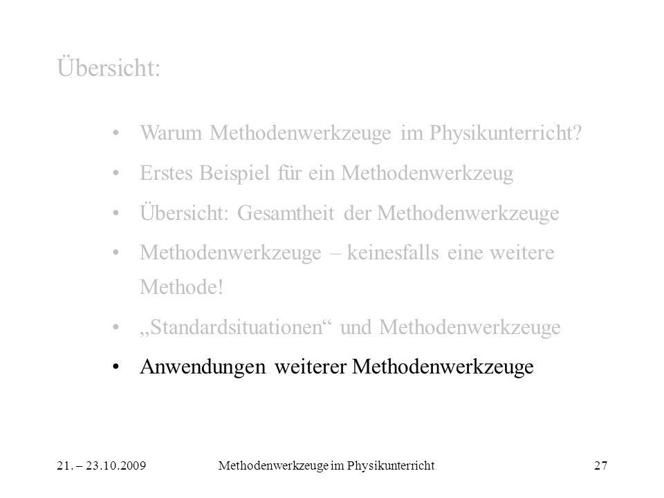 21. – 23.10.2009Methodenwerkzeuge im Physikunterricht27 Übersicht: Warum Methodenwerkzeuge im Physikunterricht? Erstes Beispiel für ein Methodenwerkze