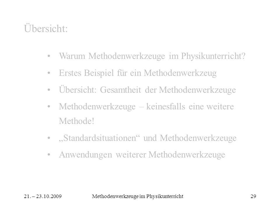 21. – 23.10.2009Methodenwerkzeuge im Physikunterricht29 Übersicht: Warum Methodenwerkzeuge im Physikunterricht? Erstes Beispiel für ein Methodenwerkze