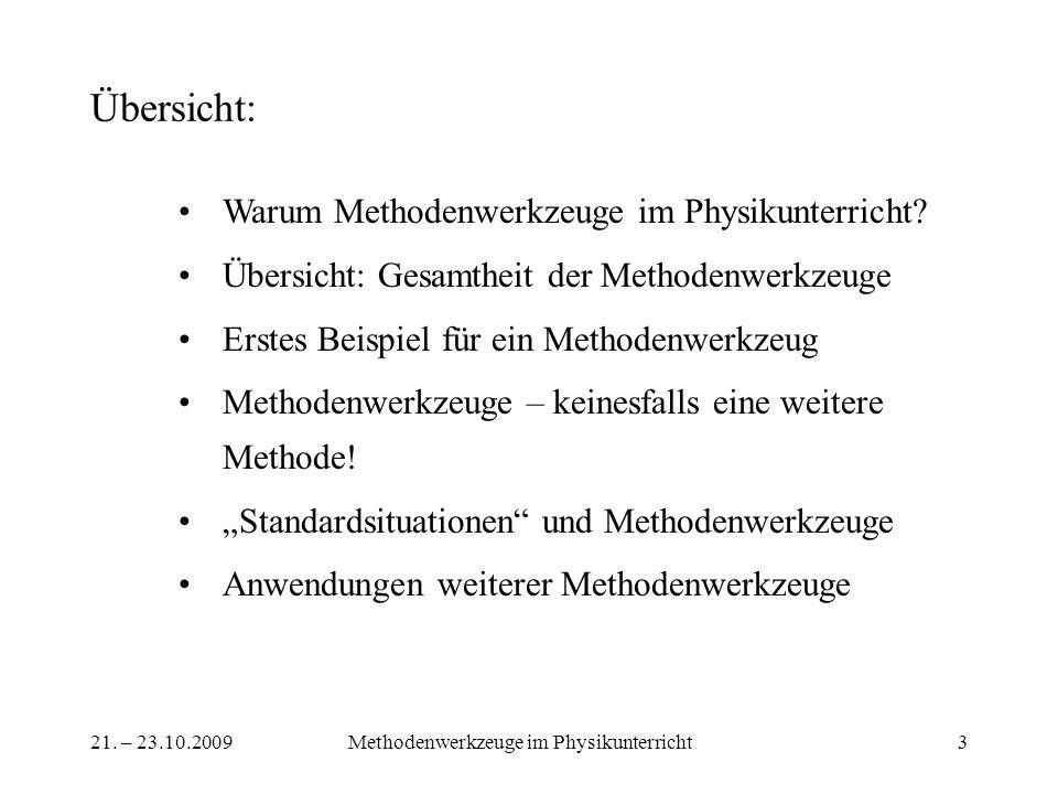 21. – 23.10.2009Methodenwerkzeuge im Physikunterricht3 Übersicht: Warum Methodenwerkzeuge im Physikunterricht? Übersicht: Gesamtheit der Methodenwerkz